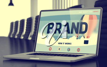 Brand - Landing Page with Inscription on Laptop Display on Background of Comfortable Conference Hall in Modern Office. Closeup View. Toned. Blurred Image. 3D Illustration.