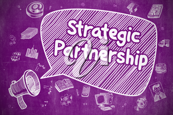 Speech Bubble with Text Strategic Partnership Doodle. Illustration on Purple Chalkboard. Advertising Concept.