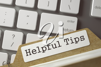 Helpful Tips. File Card Lays on Computer Keyboard. Business Concept. Closeup View. Toned Blurred  Illustration. 3D Rendering.