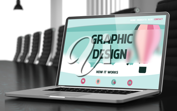 Modern Conference Room with Laptop Showing Landing Page with Text Graphic Design. Closeup View. Toned Image. Blurred Background. 3D.