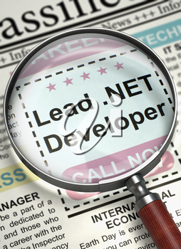 Column in the Newspaper with the Classified Ad of Lead .NET Developer. Loupe Over Newspaper with Job Vacancy of Lead .NET Developer. Concept of Recruitment. Selective focus. 3D.