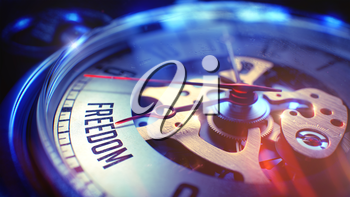 Watch Face with Freedom Wording, CloseUp View of Watch Mechanism. Business Concept. Vintage Effect. Freedom. on Watch Face with Close Up View of Watch Mechanism. Time Concept. Lens Flare Effect. 3D.
