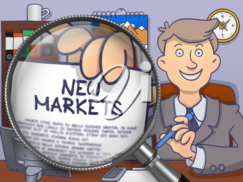 New Markets. Paper with Inscription in Business Man's Hand through Magnifying Glass. Multicolor Modern Line Illustration in Doodle Style.