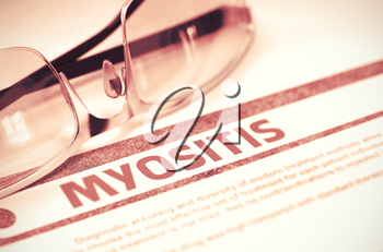 Diagnosis - Myositis. Medical Concept on Red Background with Blurred Text and Eyeglasses. Selective Focus. 3D Rendering.