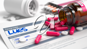 Lues Wording in Differential Diagnoses. CloseUp View of Medicine Concept. Lues - Handwritten Diagnosis in the Anamnesis. Medicine Concept with Red Pills, CloseUp View, Selective Focus. 3D.