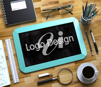 Top View of Office Desk with Stationery and Mint Small Chalkboard with Business Concept - Logo Design. Logo Design on Small Chalkboard. 3d Rendering.