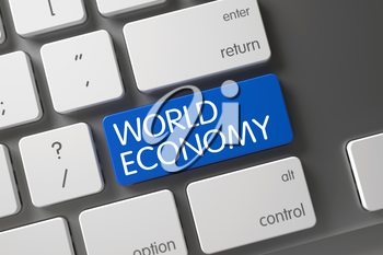 World Economy Concept: Modern Keyboard with World Economy, Selected Focus on Blue Enter Key. 3D Illustration.
