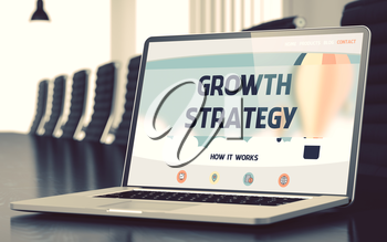 Growth Strategy. Closeup Landing Page on Laptop Screen. Modern Conference Hall Background. Toned. Blurred Image. 3D Rendering.