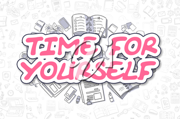 Time For Yourself Doodle Illustration of Magenta Inscription and Stationery Surrounded by Cartoon Icons. Business Concept for Web Banners and Printed Materials.