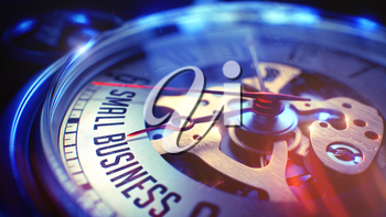 Pocket Watch Face with Small Business Text, Close View of Watch Mechanism. Business Concept. Film Effect. 3D Render.