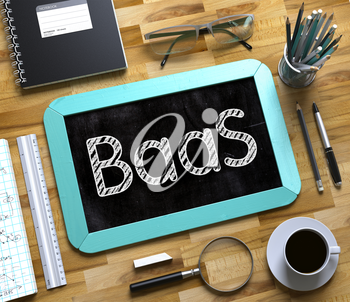 Small Chalkboard with BaaS. Business Concept - BaaS Handwritten on Mint Small Chalkboard. Top View Composition with Chalkboard and Office Supplies on Office Desk. 3d Rendering.