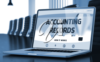 Accounting Records. Closeup Landing Page on Laptop Display. Modern Conference Hall Background. Blurred Image with Selective focus. 3D Rendering.