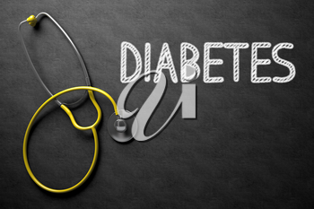 Medical Concept: Diabetes Handwritten on Black Chalkboard. Medical Concept: Top View of Yellow Stethoscope on Black Chalkboard with Medical Concept - Diabetes. 3D Rendering.