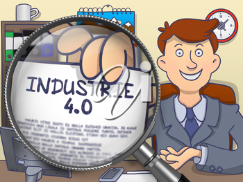 Industrie 4.0. Handsome Businessman in Office Showing Paper with Inscription through Lens. Multicolor Doodle Style Illustration.