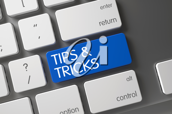 Tips and Tricks Concept: White Keyboard with Tips and Tricks, Selected Focus on Blue Enter Button. 3D Render.