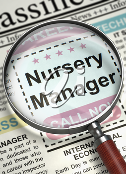 Newspaper with Classified Ad Nursery Manager. Nursery Manager - Small Ads of Job Search in Newspaper. Job Search Concept. Blurred Image with Selective focus. 3D Render.