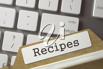 Recipes. Card Index Overlies Modern Laptop Keyboard. Archive Concept. Closeup View. Toned Blurred  Illustration. 3D Rendering.