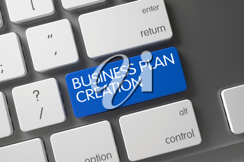 Business Plan Creation Concept White Keyboard with Business Plan Creation on Blue Enter Button Background, Selected Focus. 3D Illustration.