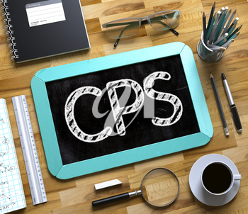 CPS - Text on Small Chalkboard.Mint Small Chalkboard with Handwritten Business Concept - CPS - on Office Desk and Other Office Supplies Around. Top View. 3d Rendering.