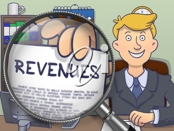 Revenues. Cheerful Businessman Sitting in Offiice and Holds Out a Paper with Inscription through Lens. Colored Doodle Style Illustration.