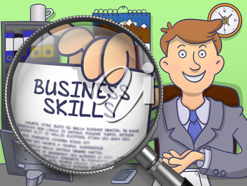 Business Skills on Paper in Business Man's Hand to Illustrate a Business Concept. Closeup View through Lens. Multicolor Doodle Style Illustration.