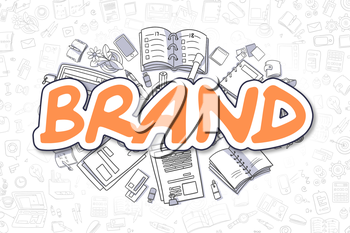 Brand Doodle Illustration of Orange Inscription and Stationery Surrounded by Cartoon Icons. Business Concept for Web Banners and Printed Materials.