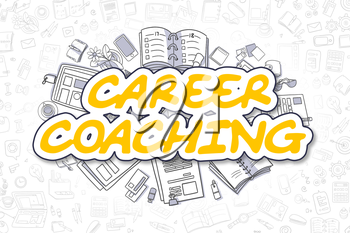 Yellow Word - Career Coaching. Business Concept with Doodle Icons. Career Coaching - Hand Drawn Illustration for Web Banners and Printed Materials.