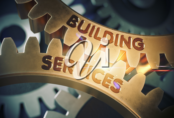 Building Serviceson the Golden Cogwheels. Building Services - Illustration with Lens Flare. 3D Rendering.
