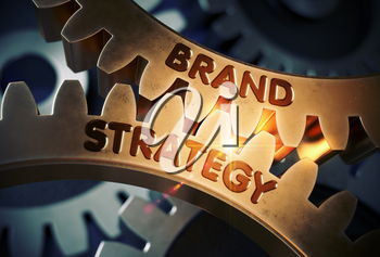 Brand Strategy - Concept. Brand Strategy on Mechanism of Golden Cogwheels with Glow Effect. 3D Rendering.