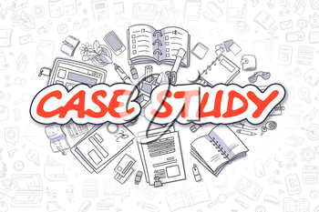 Case Study - Sketch Business Illustration. Red Hand Drawn Inscription Case Study Surrounded by Stationery. Cartoon Design Elements.