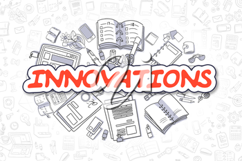 Innovations Doodle Illustration of Red Inscription and Stationery Surrounded by Cartoon Icons. Business Concept for Web Banners and Printed Materials.
