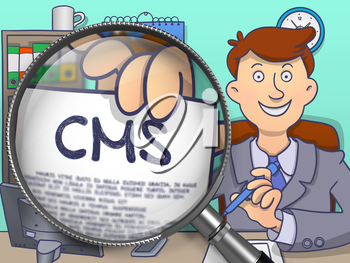 Officeman in Suit Showing a Paper with Text CMS - Content Management System - Concept through Lens. Closeup View. Multicolor Doodle Style Illustration.