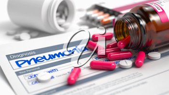 Pneumonia - Handwritten Diagnosis in the Anamnesis. Medicine Concept with Red Pills, Close Up View, Selective Focus. Pneumonia Phrase in Disease Extract. Close Up View of Medicine Concept. 3D.