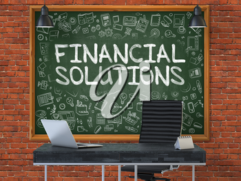 Green Chalkboard on the Red Brick Wall in the Interior of a Modern Office with Hand Drawn Financial Solutions. Business Concept with Doodle Style Elements. 3D.