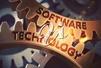 Golden Metallic Gears with Software Technology Concept. Software Technology - Concept. 3D Rendering.
