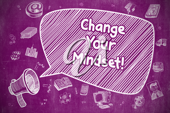 Business Concept. Megaphone with Wording Change Your Mindset. Doodle Illustration on Purple Chalkboard.