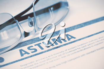 Asthma - Medical Concept on Blue Background with Blurred Text and Composition of Spectacles. Asthma - Printed Diagnosis with Blurred Text on Blue Background with Specs. Medical Concept. 3D Rendering.