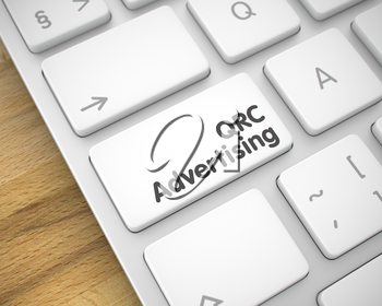 Service Concept: QRC Advertising on Laptop Keyboard lying on the Wood Background. Inscription on the Keyboard Enter Button, for QRC Advertising Concept. 3D Render.
