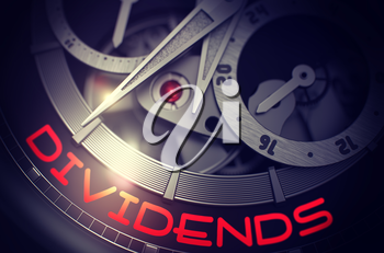 Dividends on Face of the Fashion Wristwatch Up Close in Black and White. Toned Image. Vintage Watch Machinery Macro Detail and Inscription - Dividends. Business Concept with Lens Flare. 3D Rendering.