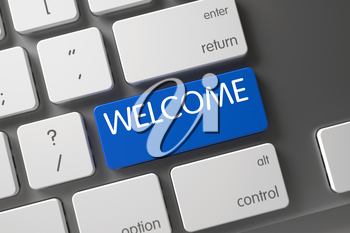 Welcome Concept: Metallic Keyboard with Welcome, Selected Focus on Blue Enter Keypad. 3D Illustration.