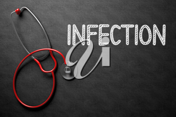 Medical Concept: Infection Handwritten on Black Chalkboard. Top View of Red Stethoscope on Chalkboard. Medical Concept: Black Chalkboard with Infection. 3D Rendering.
