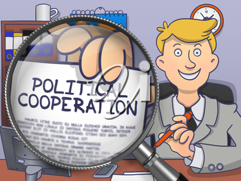 Political Cooperation through Lens. Business Man Holds Out a Paper with Inscription. Closeup View. Multicolor Modern Line Illustration in Doodle Style.
