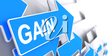 Gain - Blue Cursor with a Message Indicates the Direction of Movement. Gain, Message on the Blue Arrow. 3D Render.