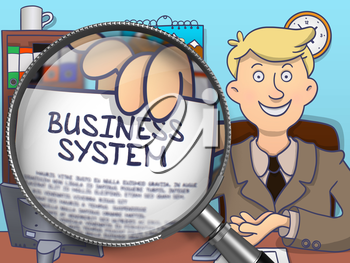 Business Man in Office Workplace Holding a Concept on Paper Business System. Closeup View through Lens. Multicolor Modern Line Illustration in Doodle Style.
