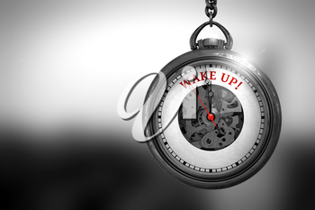 Business Concept: Wake Up on Vintage Watch Face with Close View of Watch Mechanism. Vintage Effect. Pocket Watch with Wake Up Text on the Face. 3D Rendering.