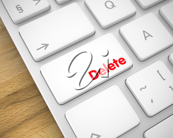Modern Computer Keyboard Key Showing the Inscription Delete. Message on Keyboard White Button. Service Concept: Delete on the Modernized Keyboard lying on the Wood Background. 3D.