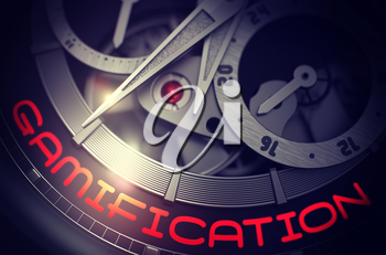 Men Wrist Watch with Gamification on Face, Symbol of Time. Gamification - Automatic Wrist Watch with Visible Mechanism and Inscription on Face. Time Concept with Lens Flare. 3D Rendering.