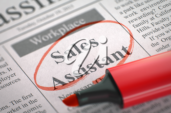 A Newspaper Column in the Classifieds with the Vacancy of Sales Assistant, Circled with a Red Marker. Blurred Image with Selective focus. Concept of Recruitment. 3D Illustration.
