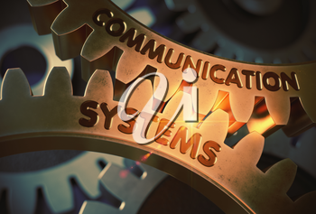 Communication Systems on the Mechanism of Golden Metallic Gears with Glow Effect. Communication Systems - Illustration with Lens Flare. 3D Rendering.