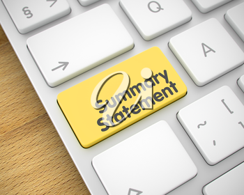 Business Concept with White Enter Yellow Key on the Keyboard: Summary Statement. Online Service Concept: Summary Statement on Modern Keyboard lying on Wood Background. 3D Render.